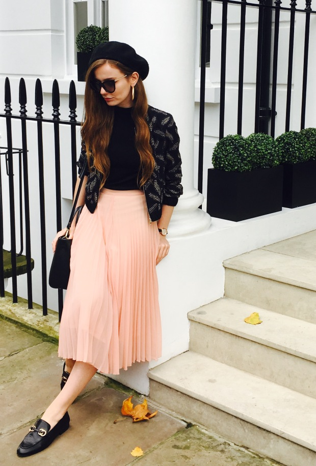 peach pleat skirt